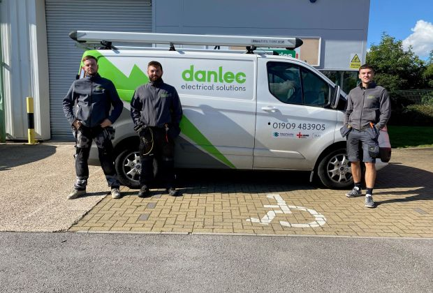 l-r Jack Cook, Kieran Blythe and Sam Shimwell from Danlec Electrical at their new Shireoaks Networkcentre base-e56fdb89