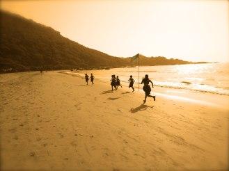 Schoolgirls running in Goa