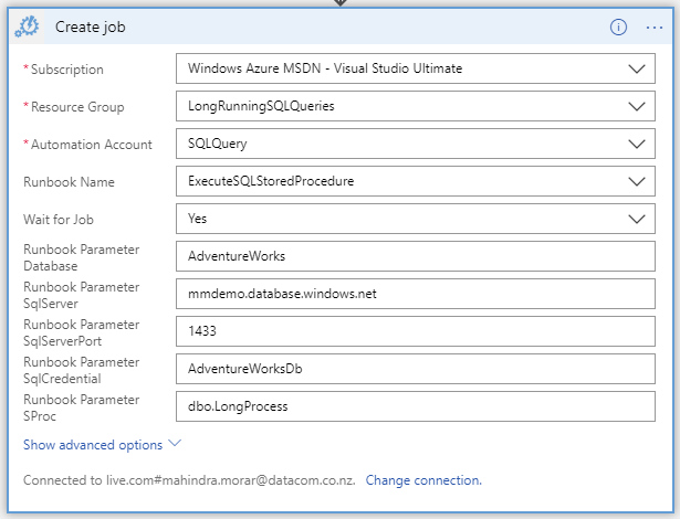 Using Azure Logic App and an Automation Runbook to execute a long