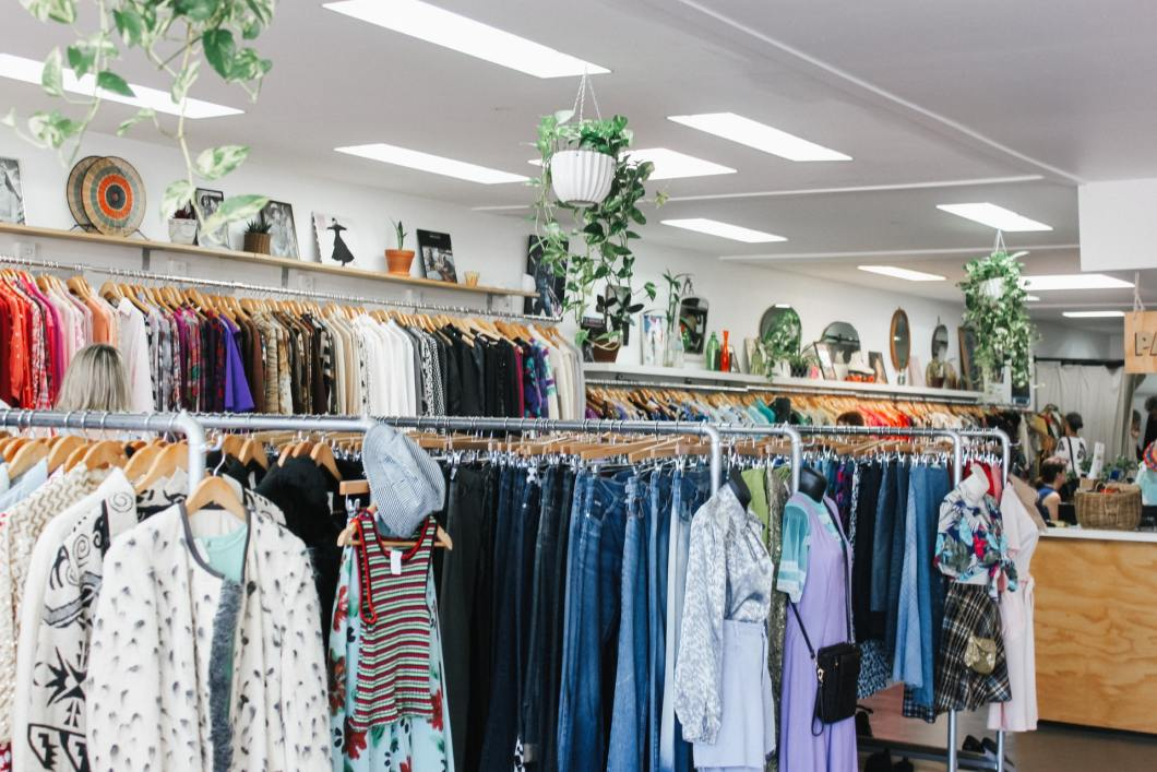 image of second-hand clothing in an op shop
