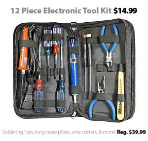 12-piece electronic tool kit for $14.99