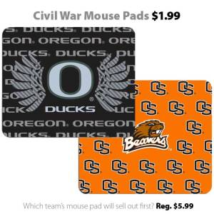 Ducks vs. Beavers - Civil War mouse pads for $1.99