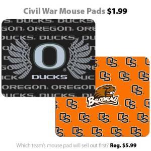 Ducks vs. Beavers - Civil War mouse pads for $1.99