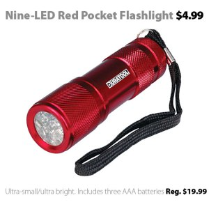 Compact nine-LED red pocket flashlight for $4.99
