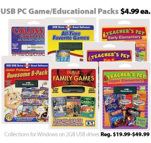 USB PC games and educational collections for $4.99 each