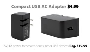 Compact USB AC Adapter for $4.99