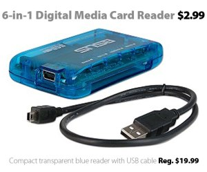 6-in-1 Digital Media Card Reader for $2.99