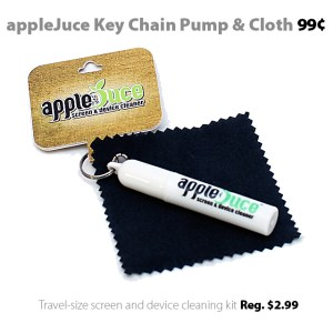 appleJuce Key Chain Pump and Cleaning Cloth for 99 cents