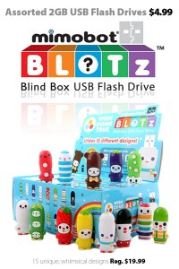 Assorted Mimobot BLOTz whisical 2GB USB flash drives for $4.99 each