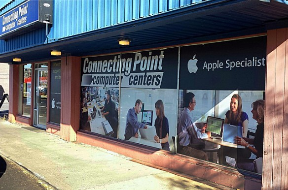 Graphics wrap for the front windows of our Bend store, Oct. 19, 2013