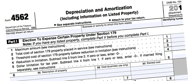 IRS Form 4562 for claiming the Section 179 deduction