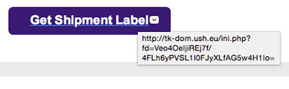 Detail of actual link destination for fake FedEx email scam