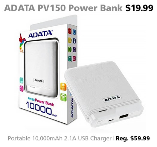 Deal of the Week for Dec. 16, 2016: ADATA PV150 Power Bank for $19.99 (reg. $59.99)