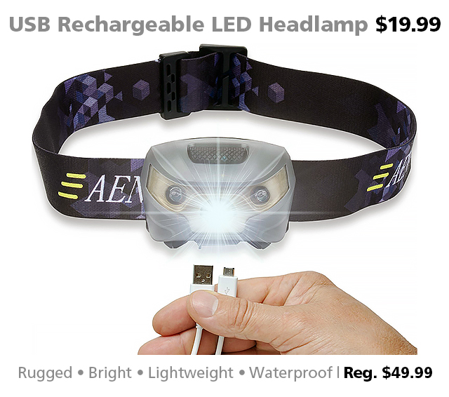 Deal of the Week | USB Rechargeable LED Headlamp for $19.99 (reg. $49.99)