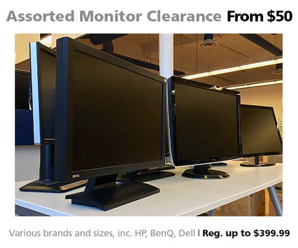 Assorted monitors on sale from $50