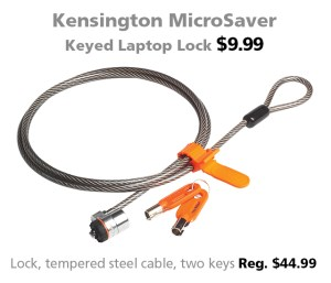 Kensington MicroSaver Keyed Laptop Lock for $9.99 (reg. $44.99)