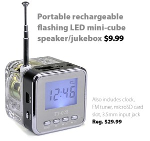 Portable rechargeable flashing LED mini-cube speaker/jukebox/clock/FM radio for $9.99 (reg. $29.99)
