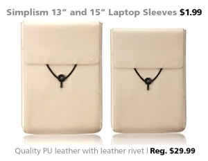 "Simplism 13"" and 15"" Leather Laptop Sleeves for $1.99"