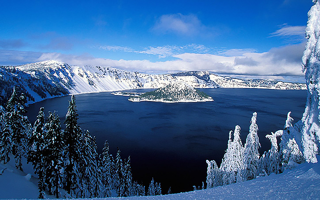 Crater Lake, Oregon in winter