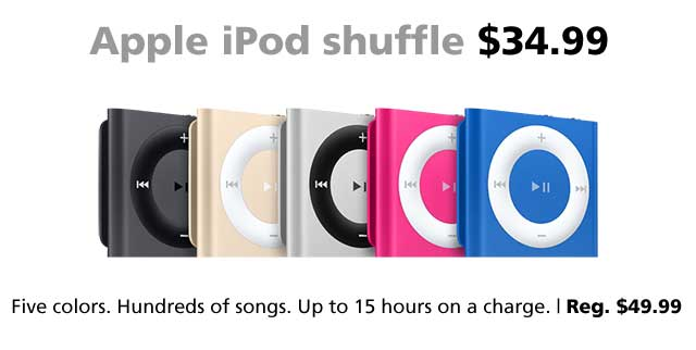 Apple iPod shuffle on sale for $34.99, only at Connecting Point