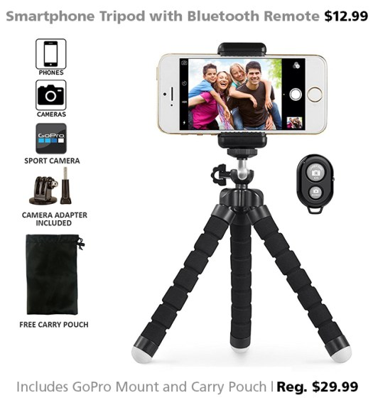 DOTW deal smartphone tripod Bluetooth remote