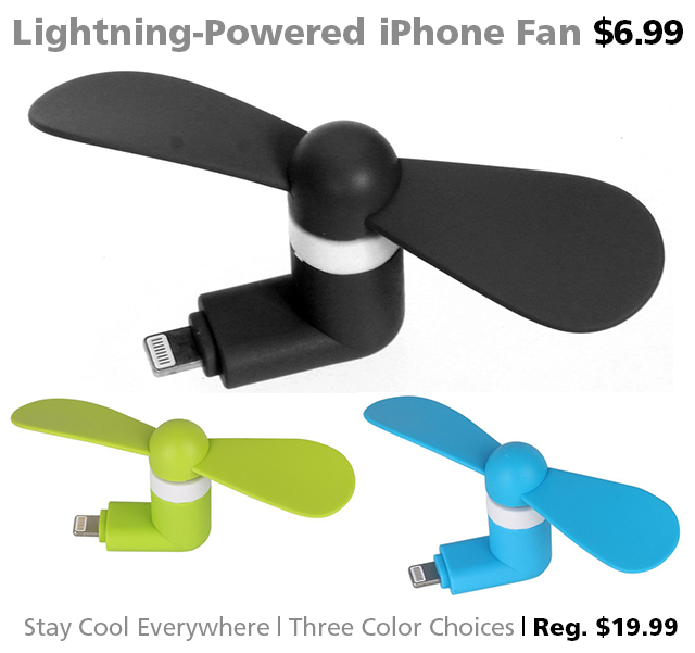 DOTW deal of the week Lightning powered iPhone fan bargain sale smartphone accessories Connecting Point Rogue Valley Medford Oregon