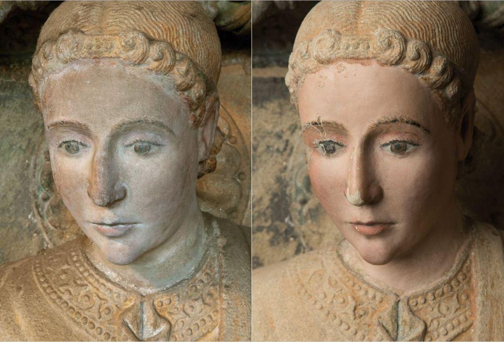 Antes y después de una escultura del Pórtico de la Gloria. Foto: Fundación Barrié / Fundación Catedral de Santiago