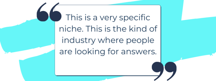 Spiritual industry and authentic marketing business quote: this is a very specific niche. This is the kind of industry where people are looking for answers.