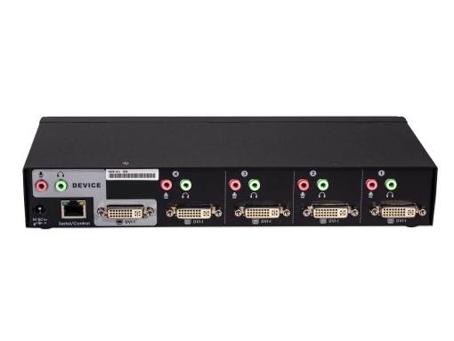 Angle view of the ADS-14-I a four port dvi audio switch