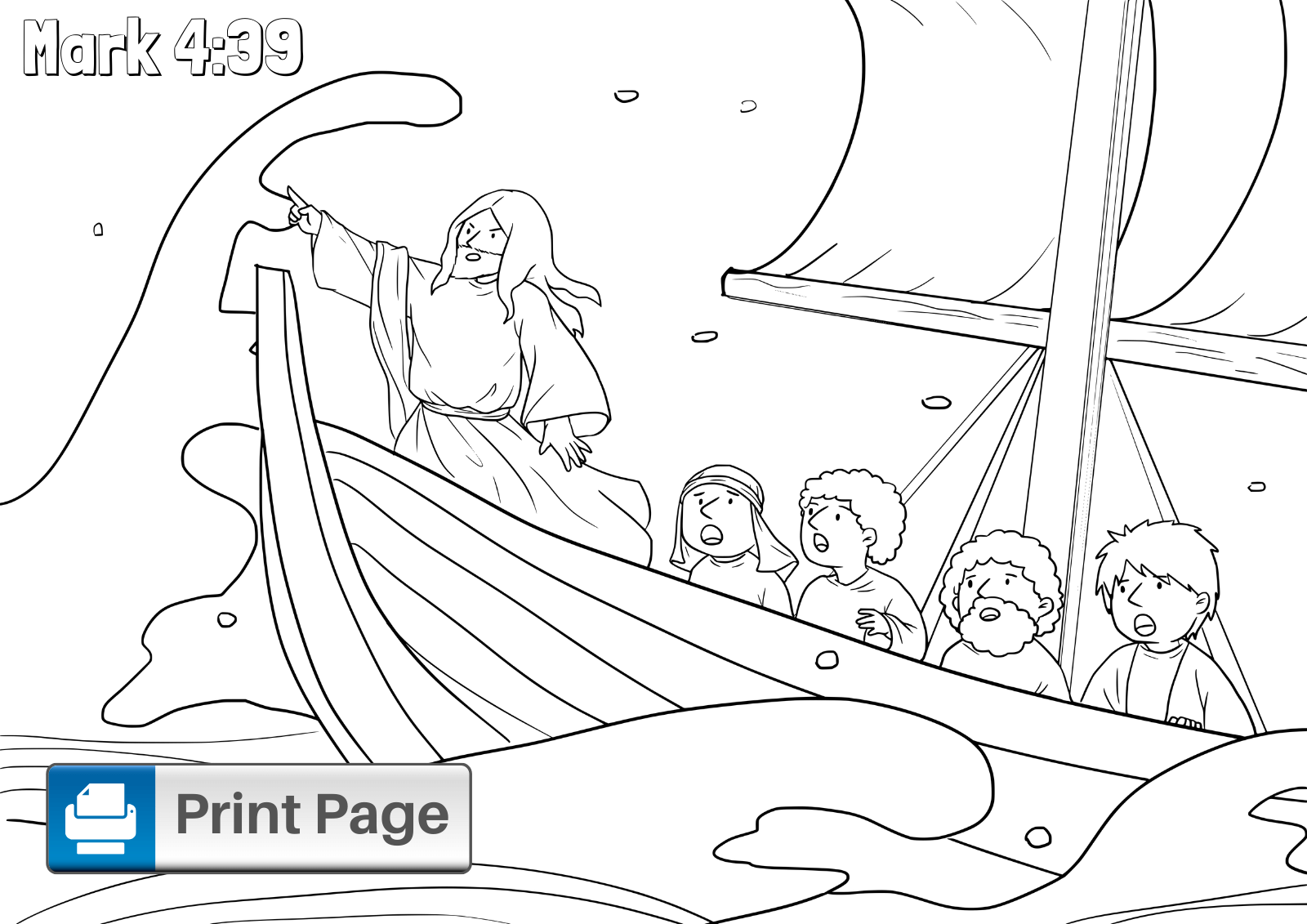 Free Jesus Calms The Storm Coloring Pages Printable S