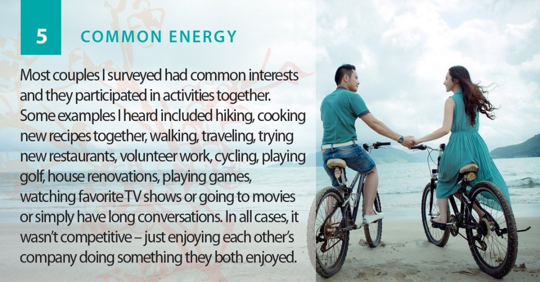 Common energy is a strength of a romantic relationship