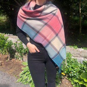 Connemara Weavers Pink, Teal, Beige Scarf