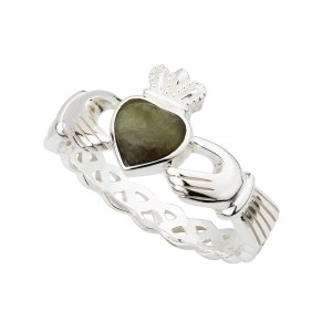 Sterling Silver Claddagh with Connemara Marble by Solvar S2887
