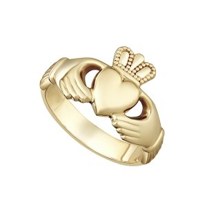 9K Gold Heavy Ladies Claddagh Ring S2267