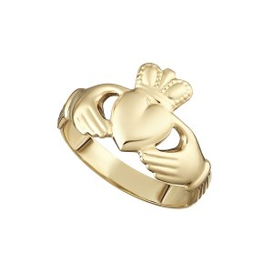 9k Gold Hollow Back Ladies Claddagh Ring S2454