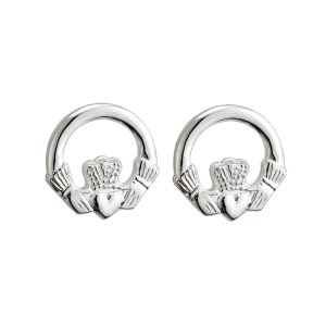 Sterling Silver Small Claddagh Stud Earrings by Solvar S3704