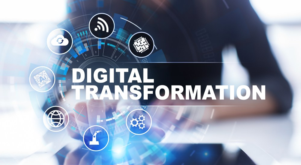 Digital Transformation image with the latest technologies in the background.