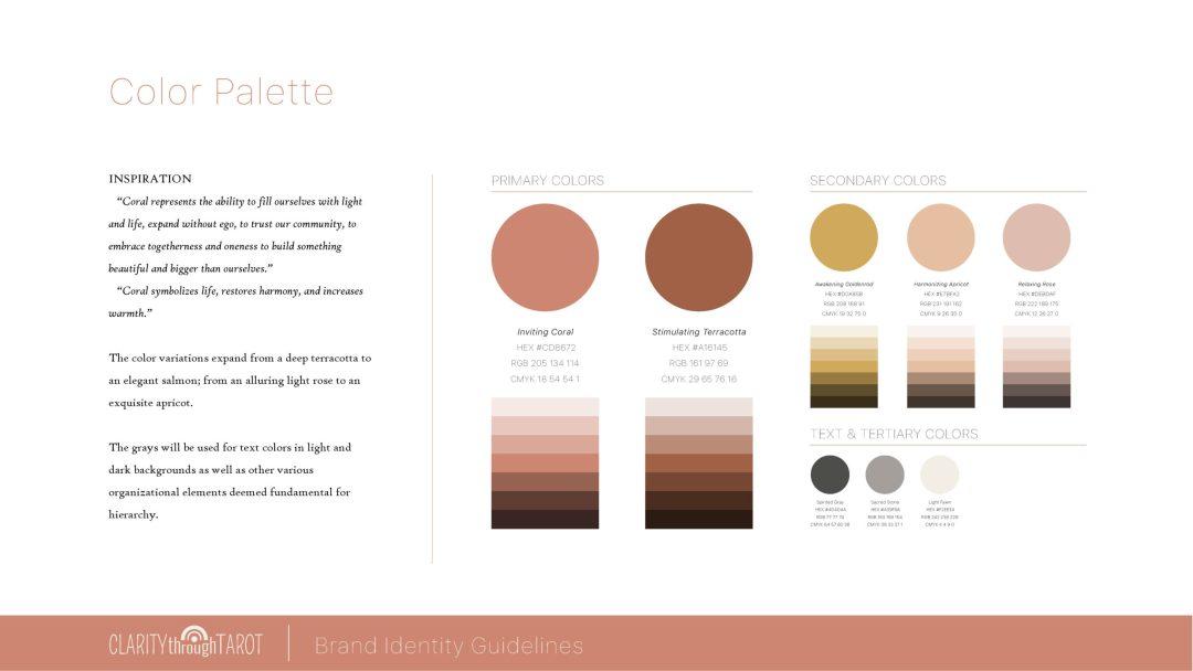 Clarity Through Tarot Brand Identity Colors