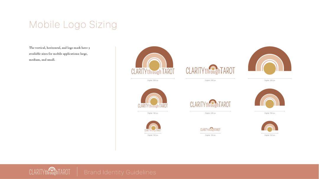 Clarity Through Tarot Brand Identity Logo Sizing