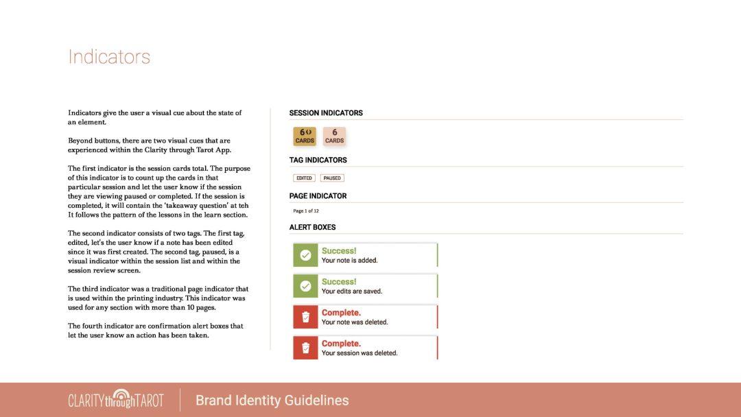 Clarity Through Tarot Design System Indicators