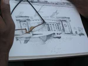 An artist's sketch of the White House at Invesco
