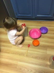 Use what you have at home! Bowls make for great color practice AND keep babies and toddlers occupied while you're in the kitchen.