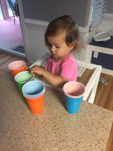 Fun, cheap activity for counting AND color practice! Plastic Cups!