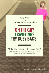"""Busy Bags and Quiet Activities for Toddlers and Preschoolers don't have to be complicated to make or involve a lot of """"stuff."""" Check out these 60 different activities using the same basic materials in different ways. Great for traveling, plane trips with toddlers, road trip activities, and more! Busy bags for toddlers, busy bags for preschoolers, busy bags for 2 year olds"""