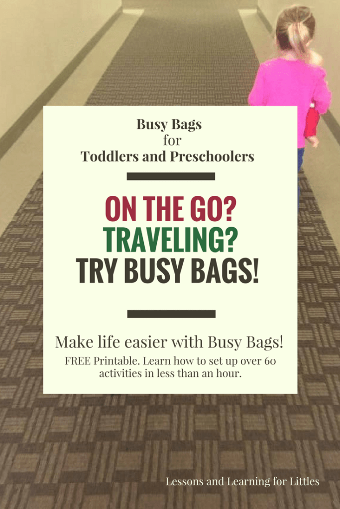 "Busy Bags and Quiet Activities for Toddlers and Preschoolers don't have to be complicated to make or involve a lot of ""stuff."" Check out these 60 different activities using the same basic materials in different ways. Great for traveling, plane trips with toddlers, road trip activities, and more! Busy bags for toddlers, busy bags for preschoolers, busy bags for 2 year olds"