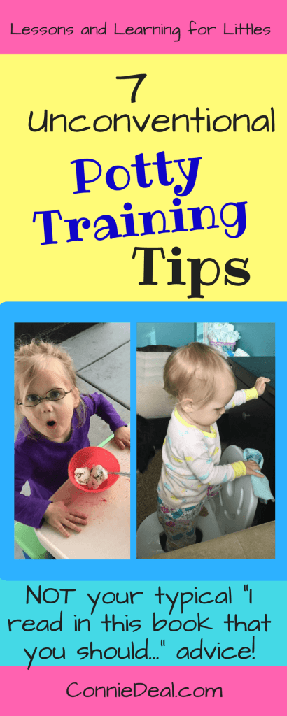 Potty training 2 year olds can be a challenge. Potty training is something we must do at some point, but it's a challenging time for parents and toddlers. So, what potty training tips can a mom of a strong-willed toddler offer? Find out my 7 unconventional potty training tips from Lessons and Learning for Littles!