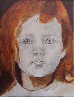 2017-03-05 Portrait - 'Grace' (Oils) - Part 2a Blocking in