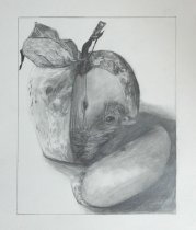 2015-05-05 Still Life (Fictional) - 'Hatching Moon Apple' (Graphite)