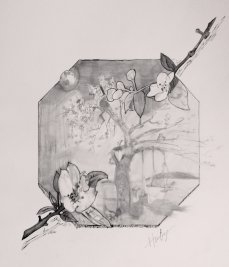 2015-05-12 Landscape (Fictional) - 'Apple Blossom Memories' (Graphite and Ink)