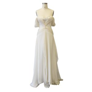 off the shoulder aline wedding dress